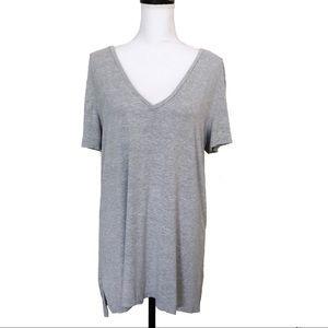 Halogen V Neck T Shirt 1X Tunic Short Sleeve Gray